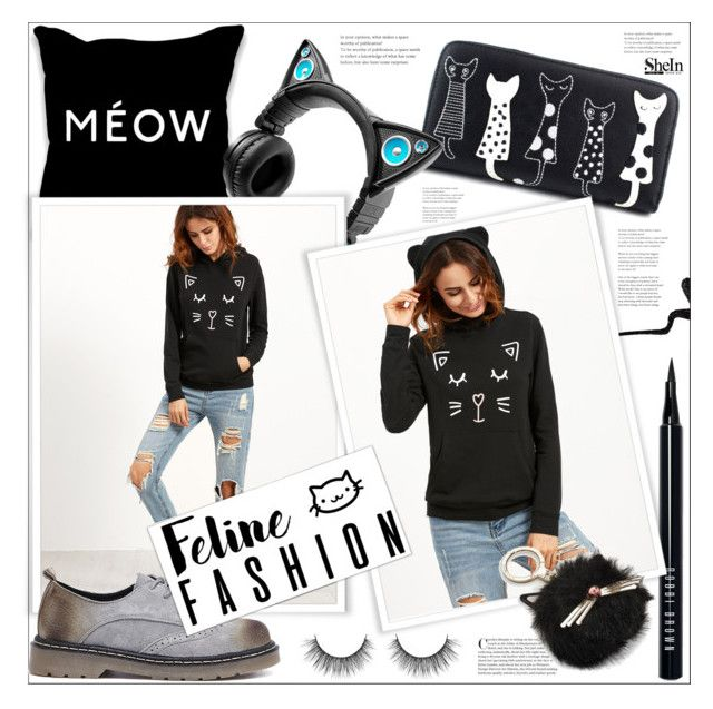 """Feline Fashion"" by mycherryblossom ❤ liked on Polyvore featuring Bobbi Brown Cosmetics, Brookstone, Stila, Kate Spade, polyvoreeditorial, polyvorestyle, fallstyle and catstyle"