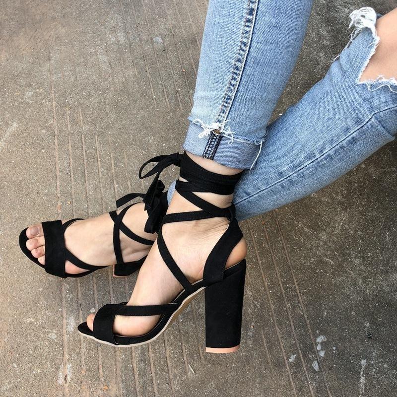 d5c6dedc0f8b Open Toe Ankle Wraps Lace Up Chunky Heels Sandals in 2019 ...