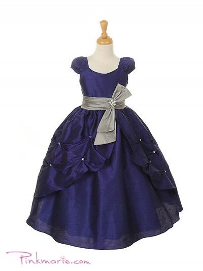d4d041a9aa3 PinkMarie (inexpensive flower girl dresses) Royal Blue   Silver Poly  Dupiono Pick Up Girl Dress