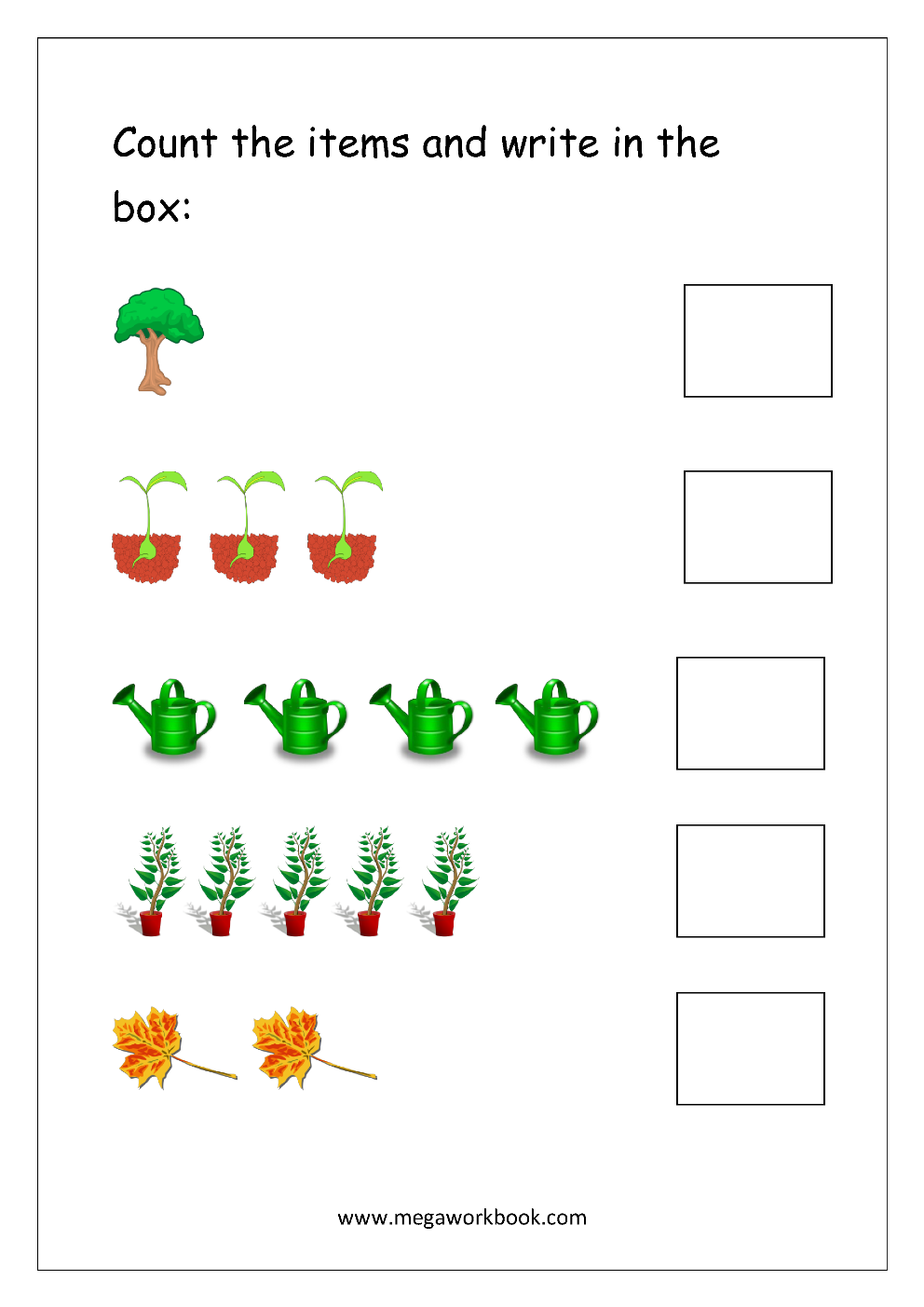 Math Worksheet Count And Write (15) Counting