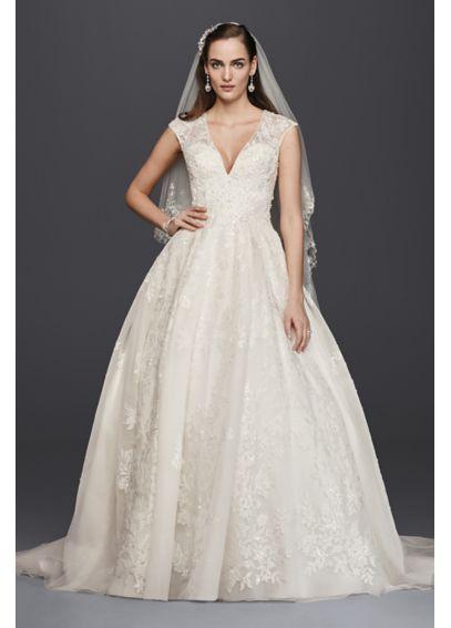 Oleg Cassini V-Neck Tulle Ball Gown Wedding Dress 4XLCWG748  17e6fd776d25