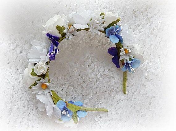 Headband flowers Flower Crown Hair Accessories Bridal by SajmonArt