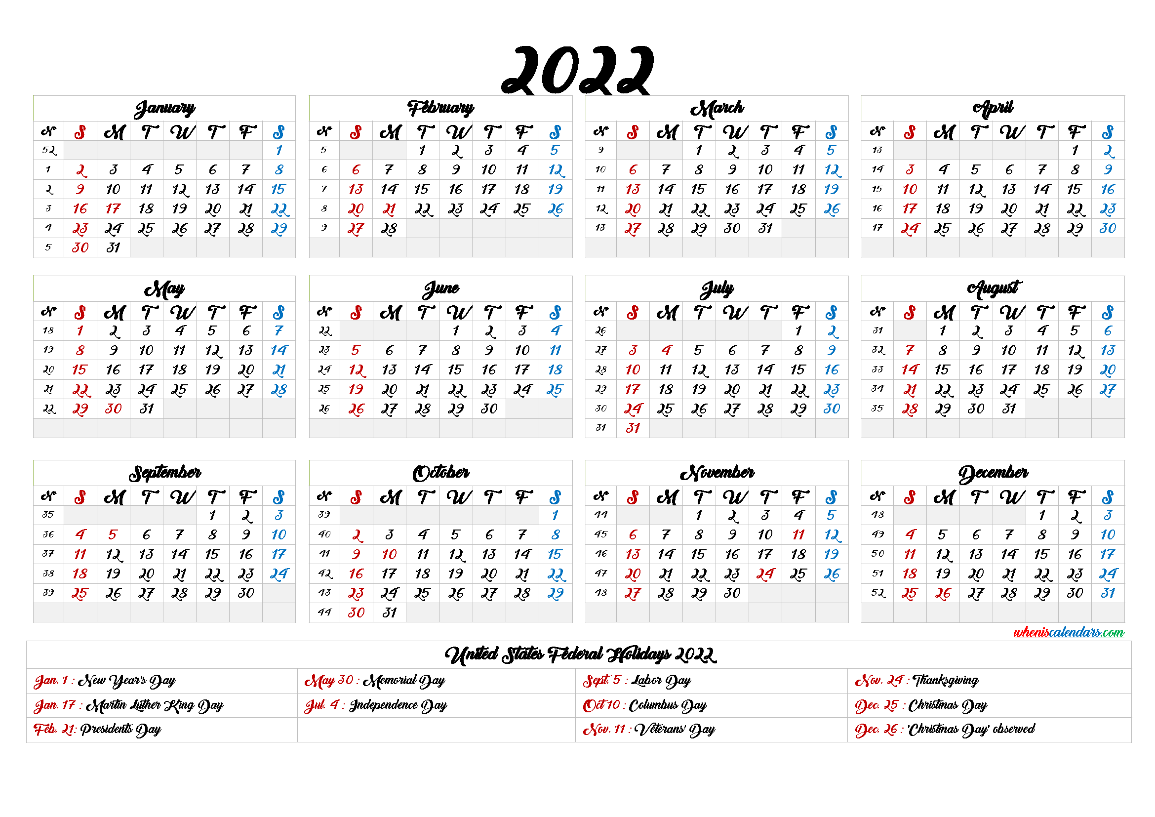 Printable 2022 Calendar One Page 6 Templates In 2020 Printable Numbers Templates Printable Free Holiday Calendar
