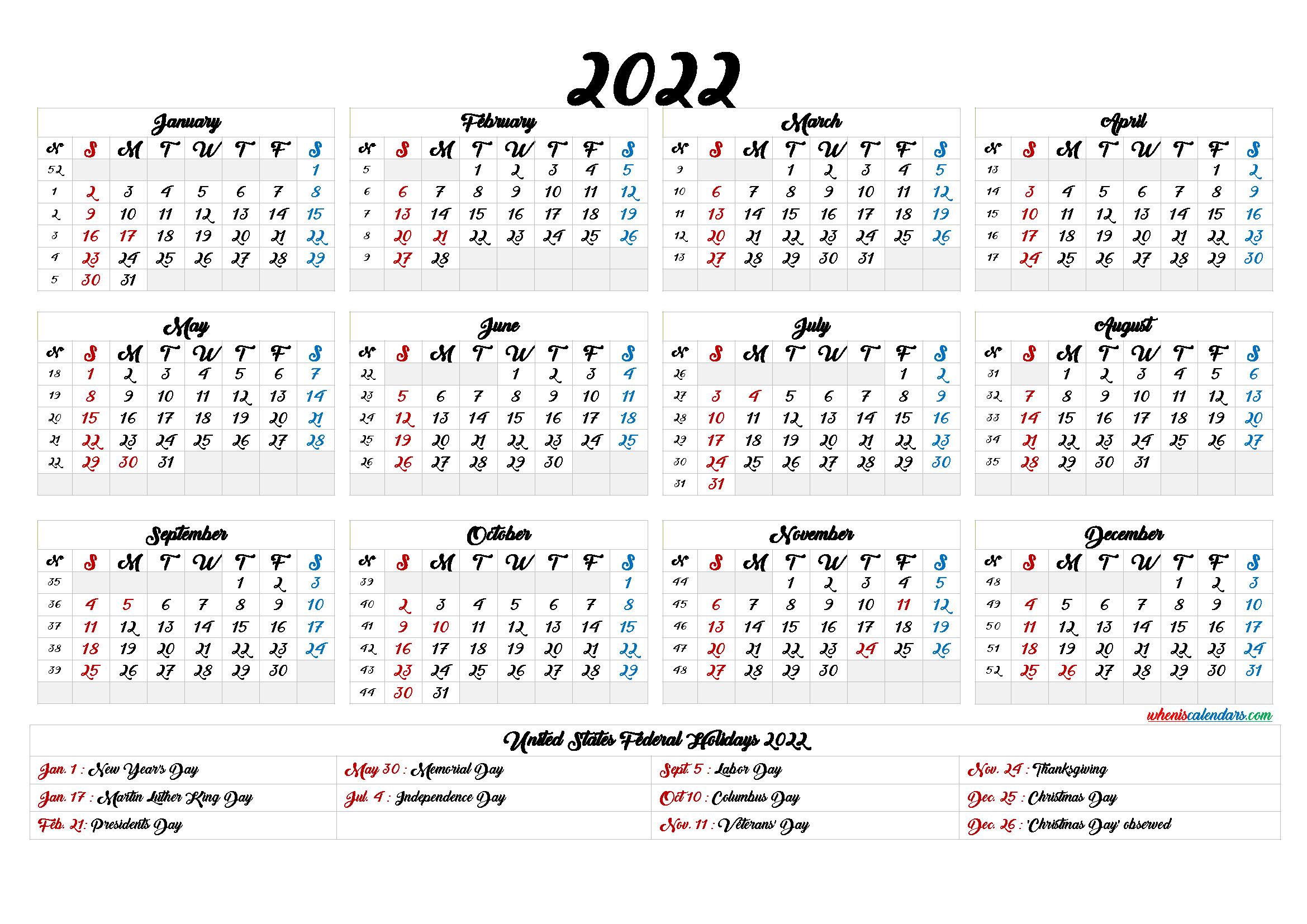 Printable 2022 Calendar One Page - 6 Templates | Printable ...