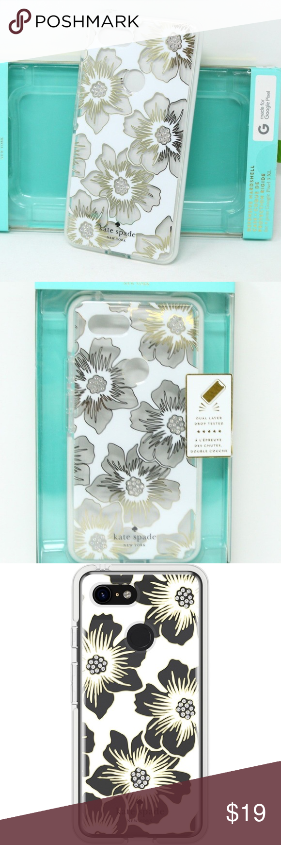uk availability 64754 3f442 Google Pixel 3 - Kate Spade Hardshell Phone Case Floral print with a ...