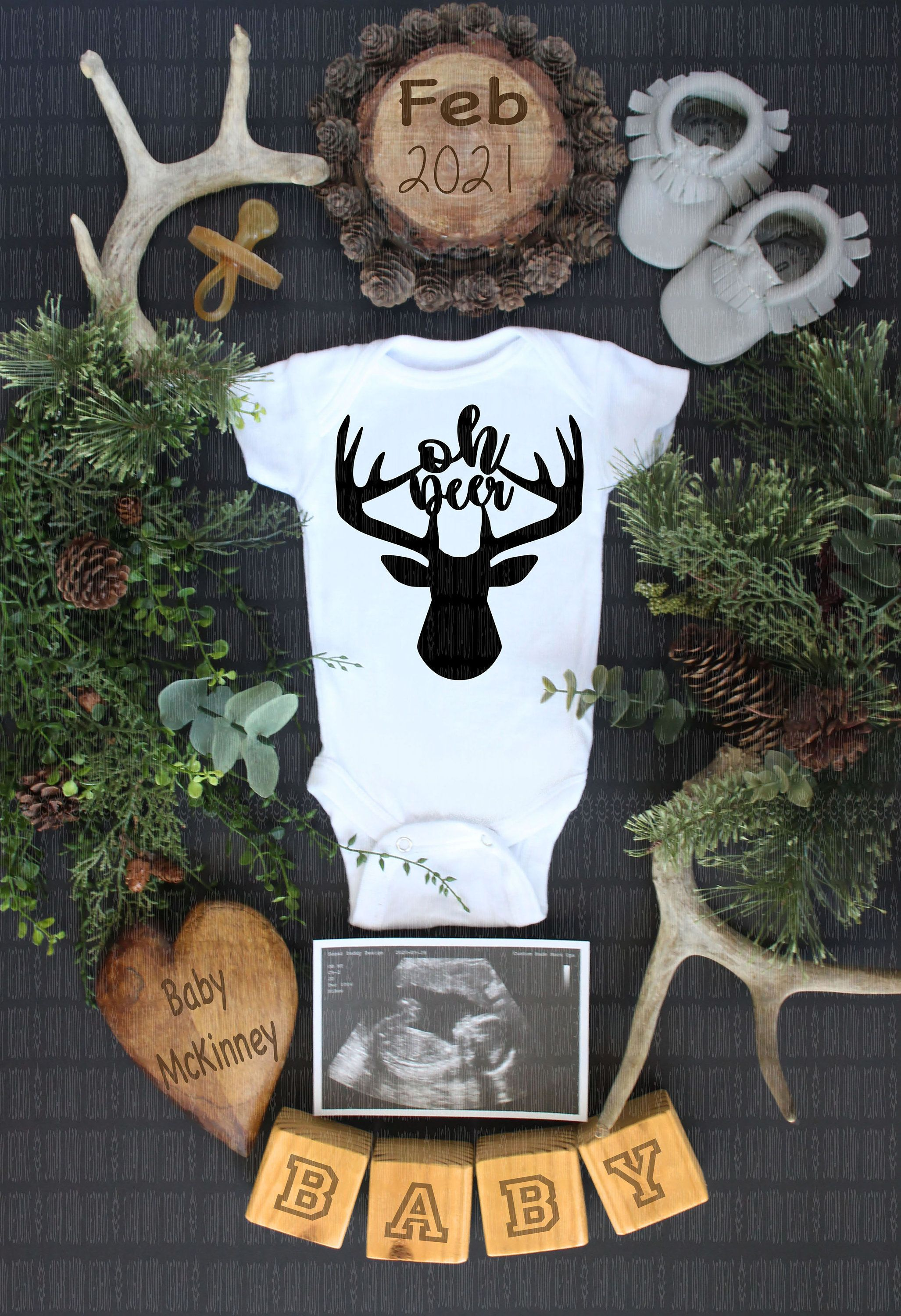 Baby Shower Gift New Dad Oh Deer I/'m Here Deer Antlers Expecting A Baby Welcome Baby Onesies Expecting Mother Hunter