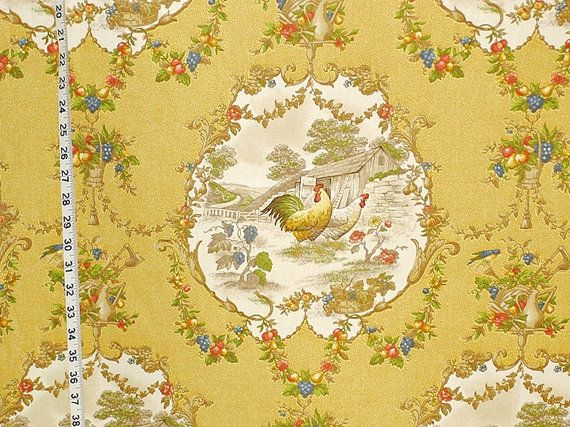 Yellow Rooster Toile Fabric Chicken French Country Cottage Home Decorating Yardage FREE SHIPPING 1 Yard