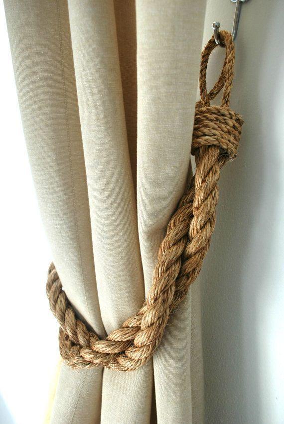 Photo of Rustic Manila Rope Curtain Tiebacks/ Shabby Chic ties/Vintage /Nautical tiebacks/Chunky Thick Ties/ Industrial holdbacks/ Rope Tiebacks/Ties