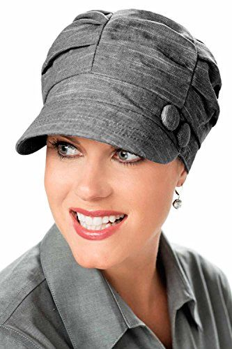 6610b8d0932267 Pleated Newsboy Hat for Cancer, Chemo, and Alopecia - Pleated Newsboy Cap -  Charcoal