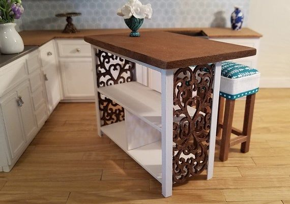 Miniature Kitchen Island, Miniature Kitchen Bar, Serving Island, Kitchen Furniture, Dollhouse, Room #miniaturekitchen