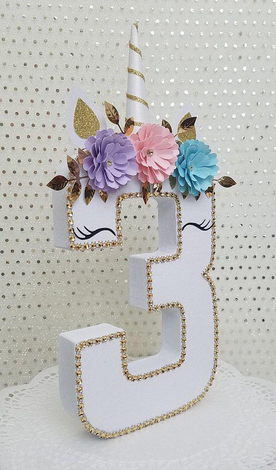 Unicorn number 3/ Unicorn/ Unicorn Party/ Unicorn Photo Prop/