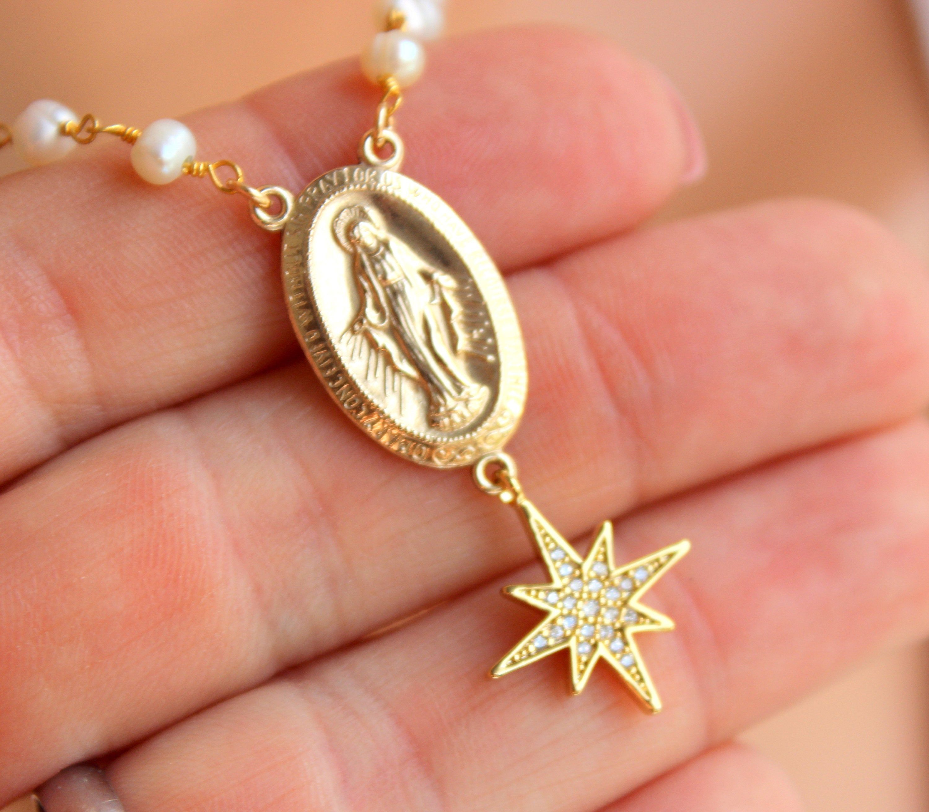 "18K Gold Plated 18/"" Multi Color Crystal Rosary with Virgin Mary and Cross Charm"