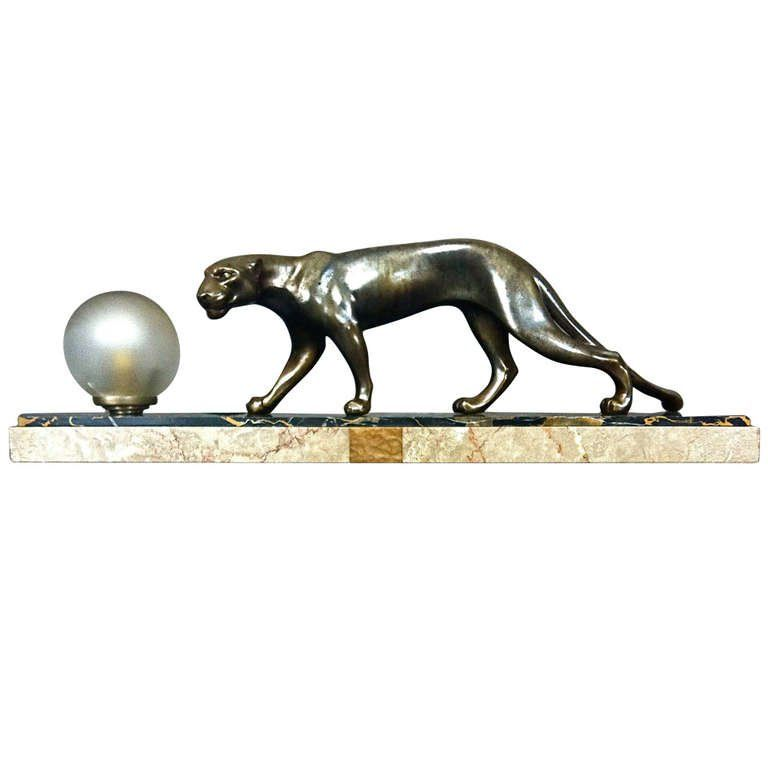 French Art Deco Panther Sculpture Desk Lamp By M Fonds In 2019 Products Sculpture French Art Art