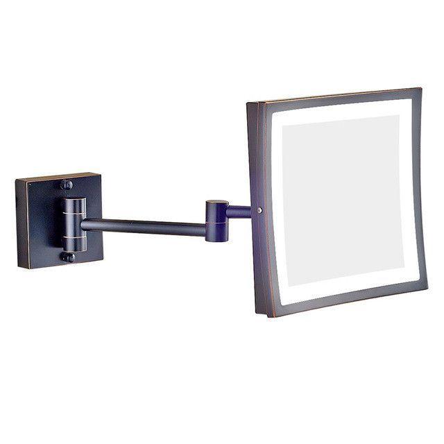 Gurun Square 8 Inch Led Light Wall Mounted Folding Cosmetic Mirror