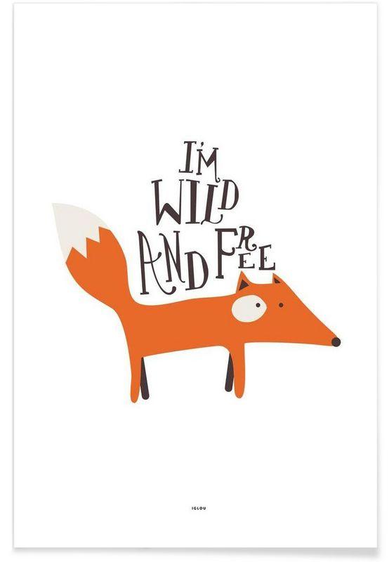 Wild and free als premium poster von iglou juniqe fox pinterest dessin renard renard - Dessin renard ...