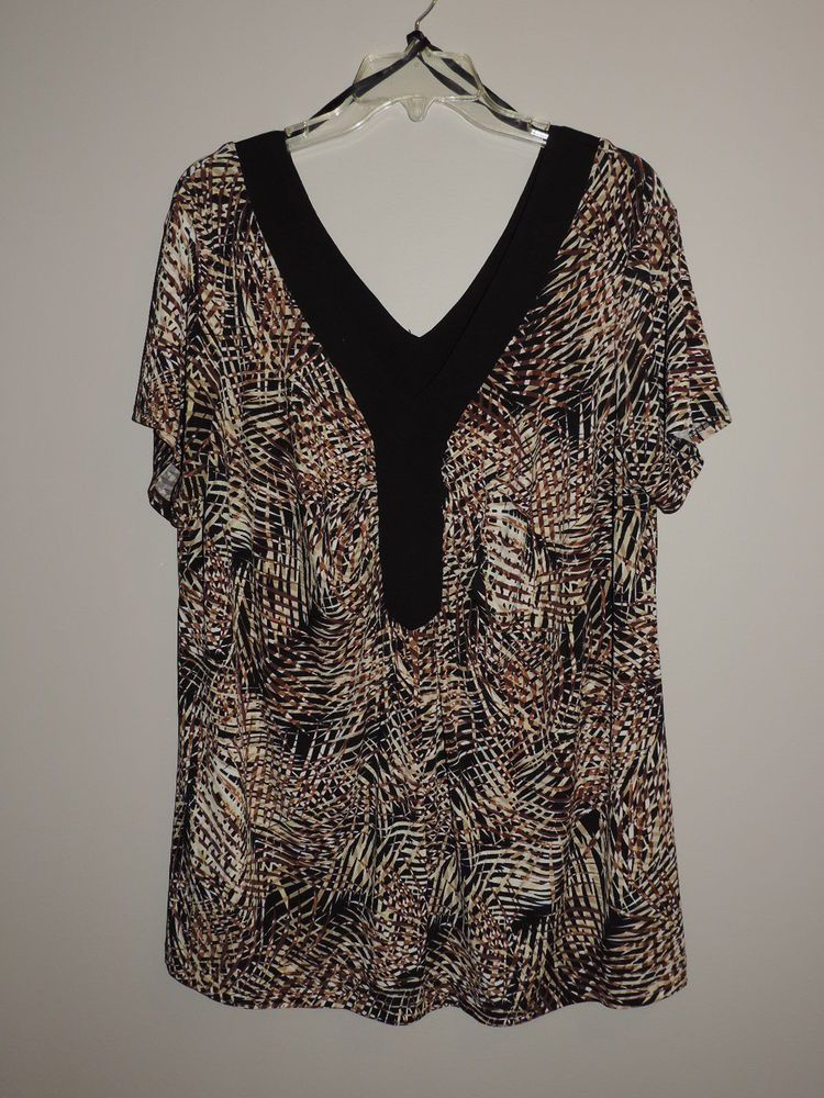 0c274b1c207 PLUS-DRESSBARN-WOMAN-SZ-18W-BLK/BROWN/WT-MULTI-GEOMETRIC-TUNIC-TOP-DOUBLE-V-NECK  #fashion #clothing #shoes #accessories #womensclothing #tops (ebay link)