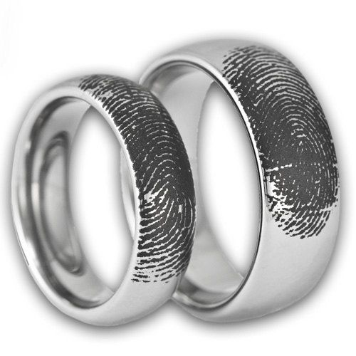 couples custom engraved tungsten fingerprint rings his and hers matching wedding bands personalized also available in gold rose gold color - His And Hers Matching Wedding Rings