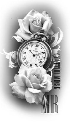 ROSE CLOCK TATTOO | rosa | Rose tattoo vorlage, Lilien ...