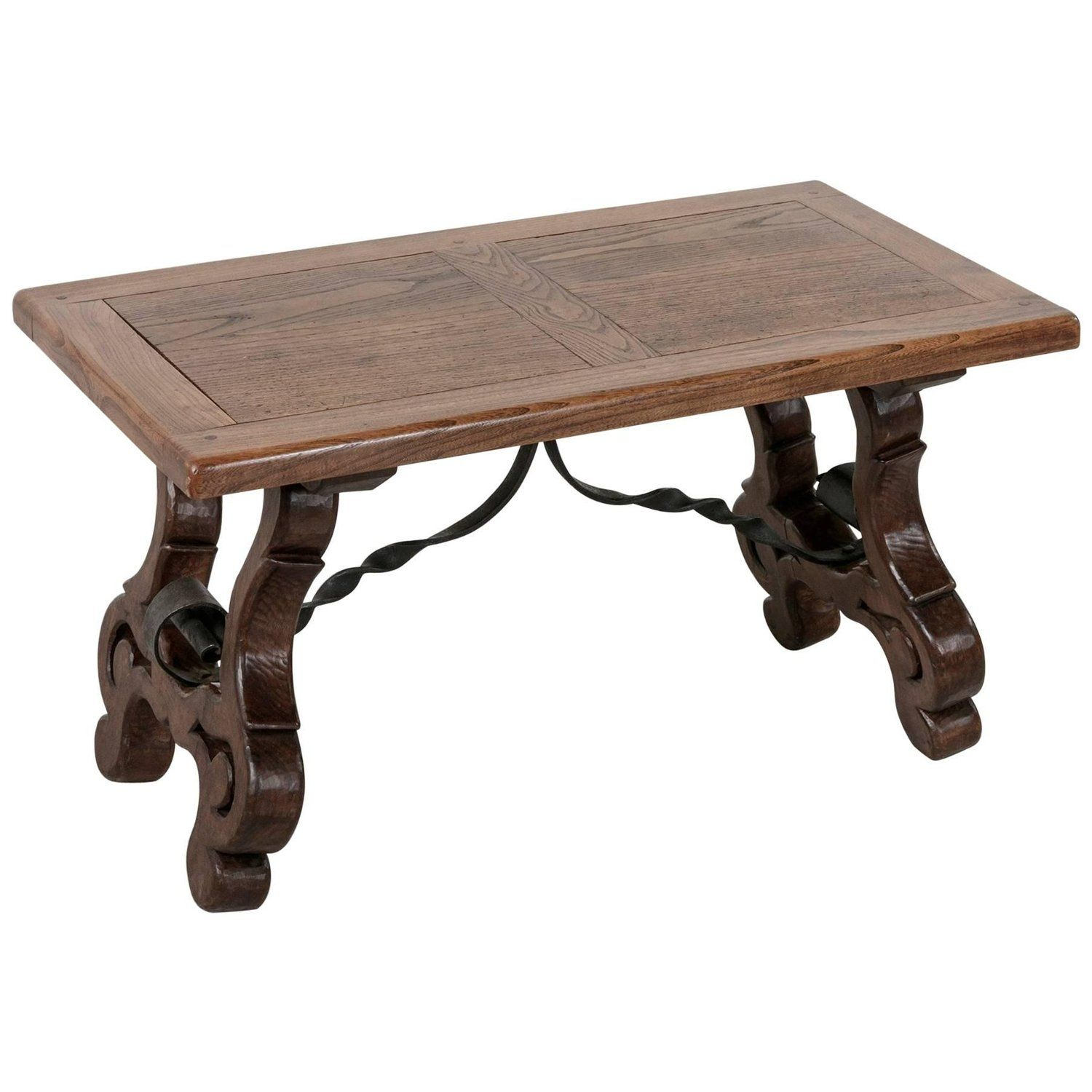 Early 20th Century Spanish Style Oak Coffee Table Or Bench With