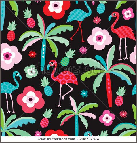 Seamless tropical flamingo exotic pineapple and palm tree beach pattern illustration for kids background in vector