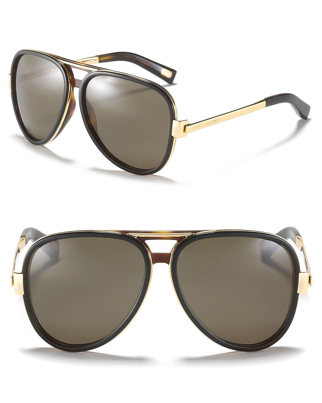 Marc Jacobs Gold Metal & Plastic Aviator Sunglasses