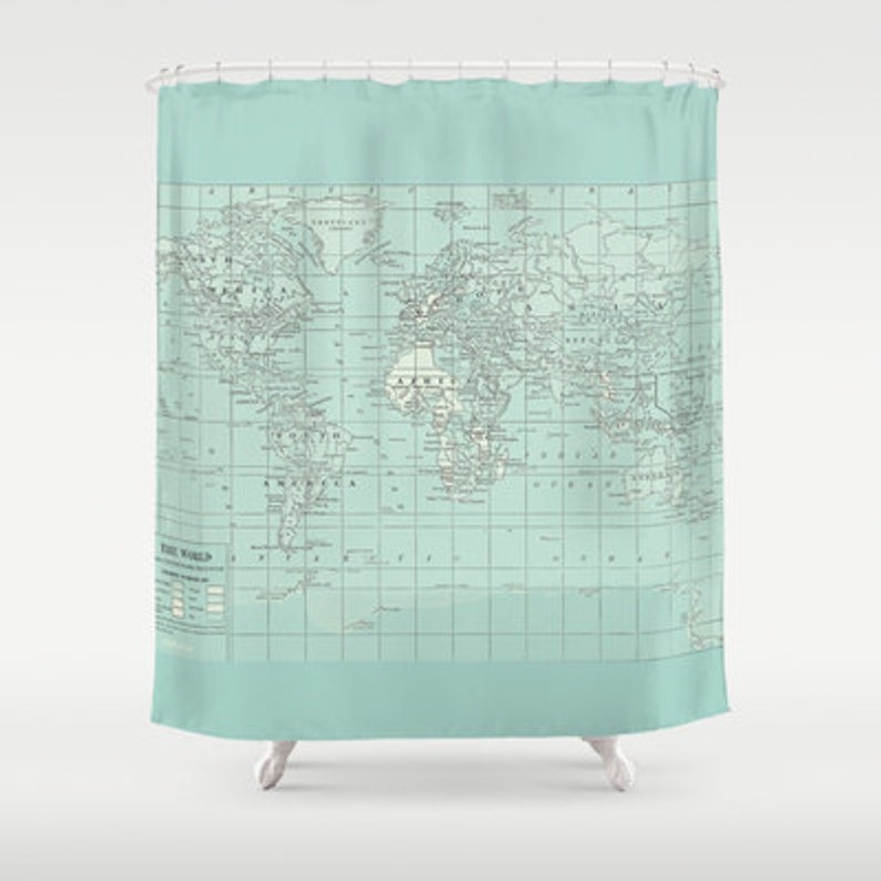 Soft Aqua Map Shower Curtain Historical Map Travel Decor Fabric Bathroom Decor Elegant Shower Curtains Coastal Decorating Diy