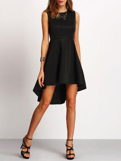 Vestido sin manga asimétrico -negro-Spanish SheIn(Sheinside)