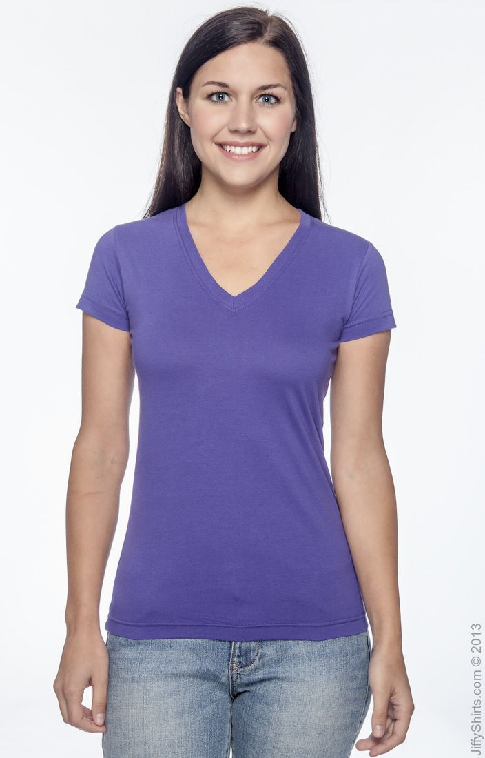 3607 LAT Ladies/' Junior Fit V-Neck T-Shirt
