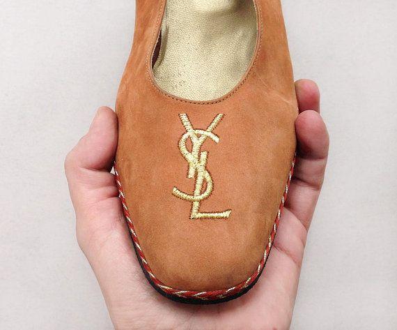 957f685a8961 Yves Saint Laurent shoes   Vintage YSL Monogram Logo suede leather platform    wedge heel embroidered sandals Espadrille Eu 41 Uk 8 Us 10