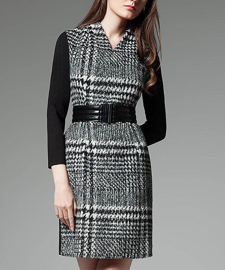 Look at this Black & White Wool-Blend V-Neck Dress on #zulily today!
