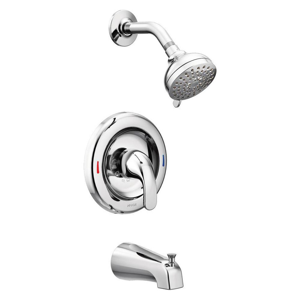 Moen Adler Single Handle 4 Spray Tub And Shower Faucet With Valve In Chrome Valve Included 82603 Shower Faucet Sets Shower Faucet Shower Tub