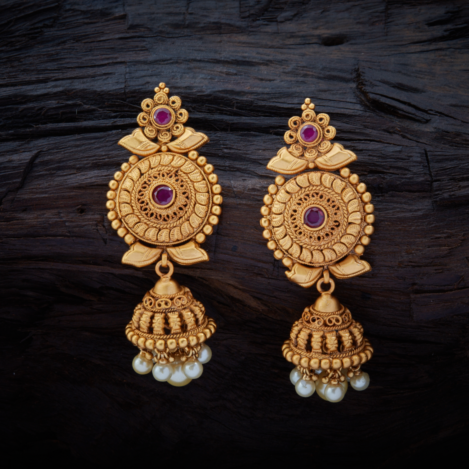 Conventional Antique Hanging Earrings Studded With Ruby Synthetic Stones Gold Polish
