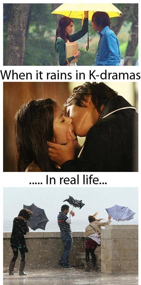 La pluie dans les dramas et dans la réalité, ce n'est pas la même chose... Du tout !