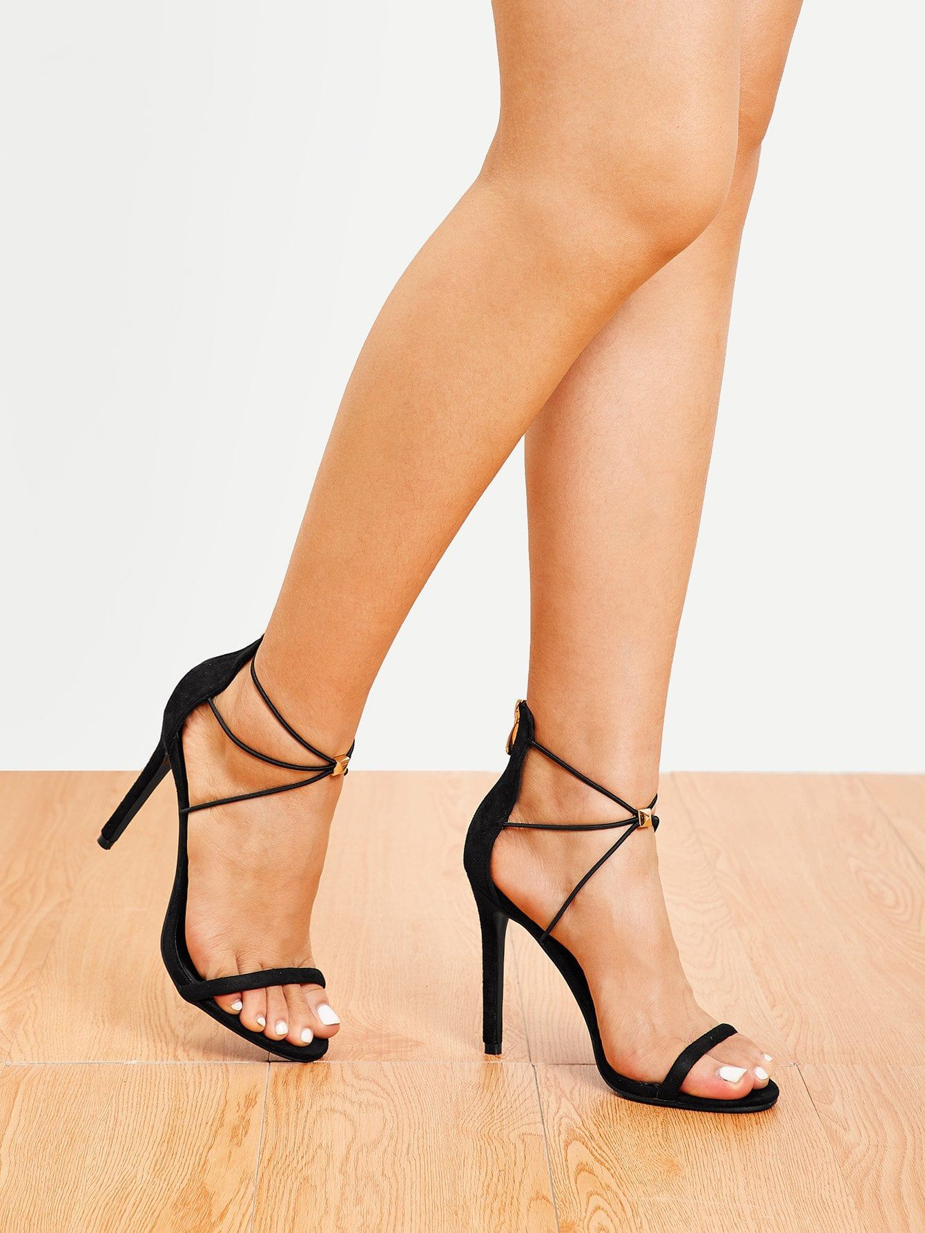 4cb1578c85 Elegant Open Toe Strappy Black High Heel Stiletto Single Band Tie Leg  Stiletto Heels