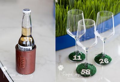 Turf table settings and wine markers