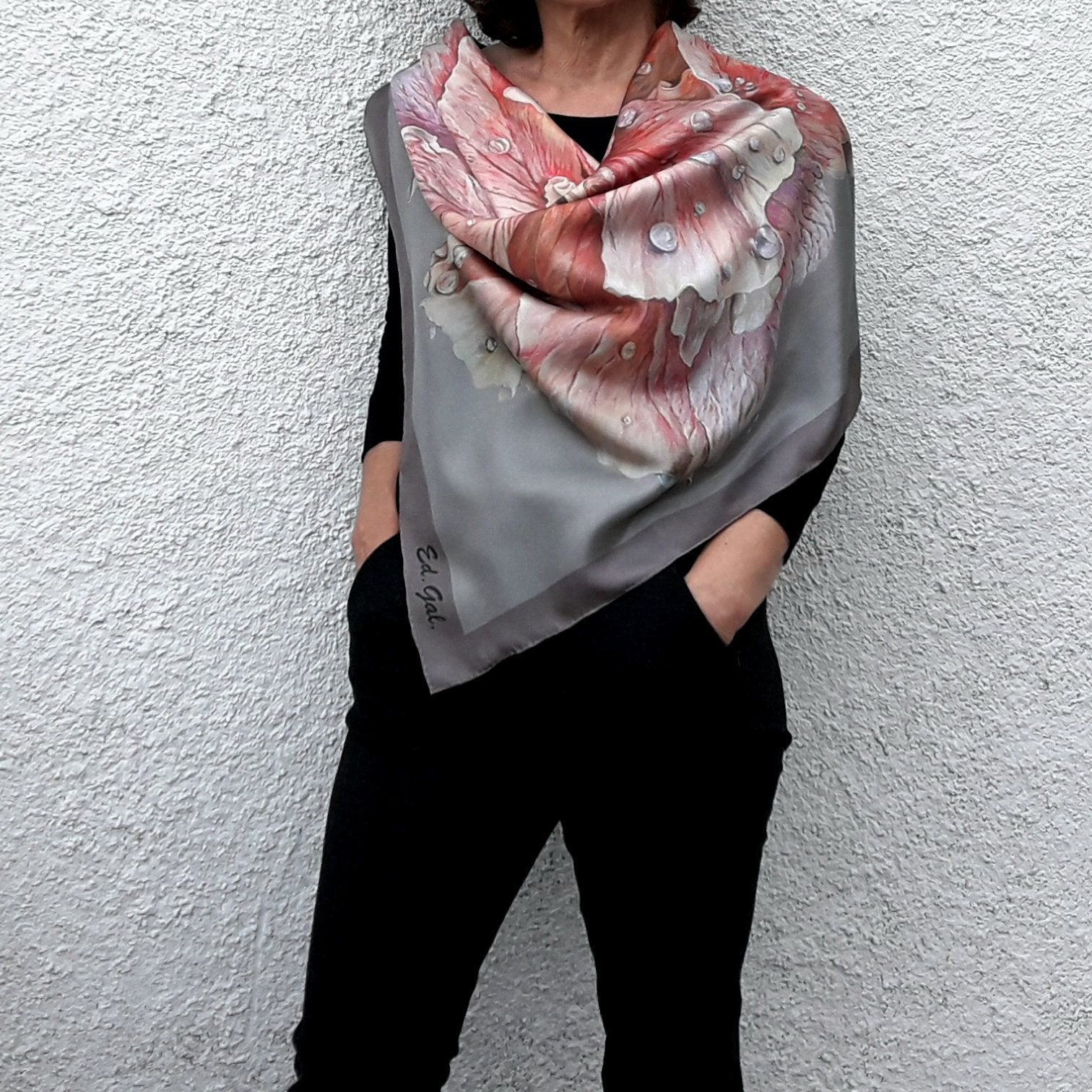 9b2e01efc521 Pink Beige Silk Scarf Square Big Flower Mother s Day Inspirational Women  Gift Unusual Acsessories Rose Designer Art Silk Scarves and Wraps by ...