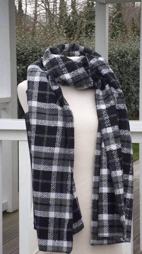 d3801b9bad0 grande écharpe couverture femme laine noir gris et blanc