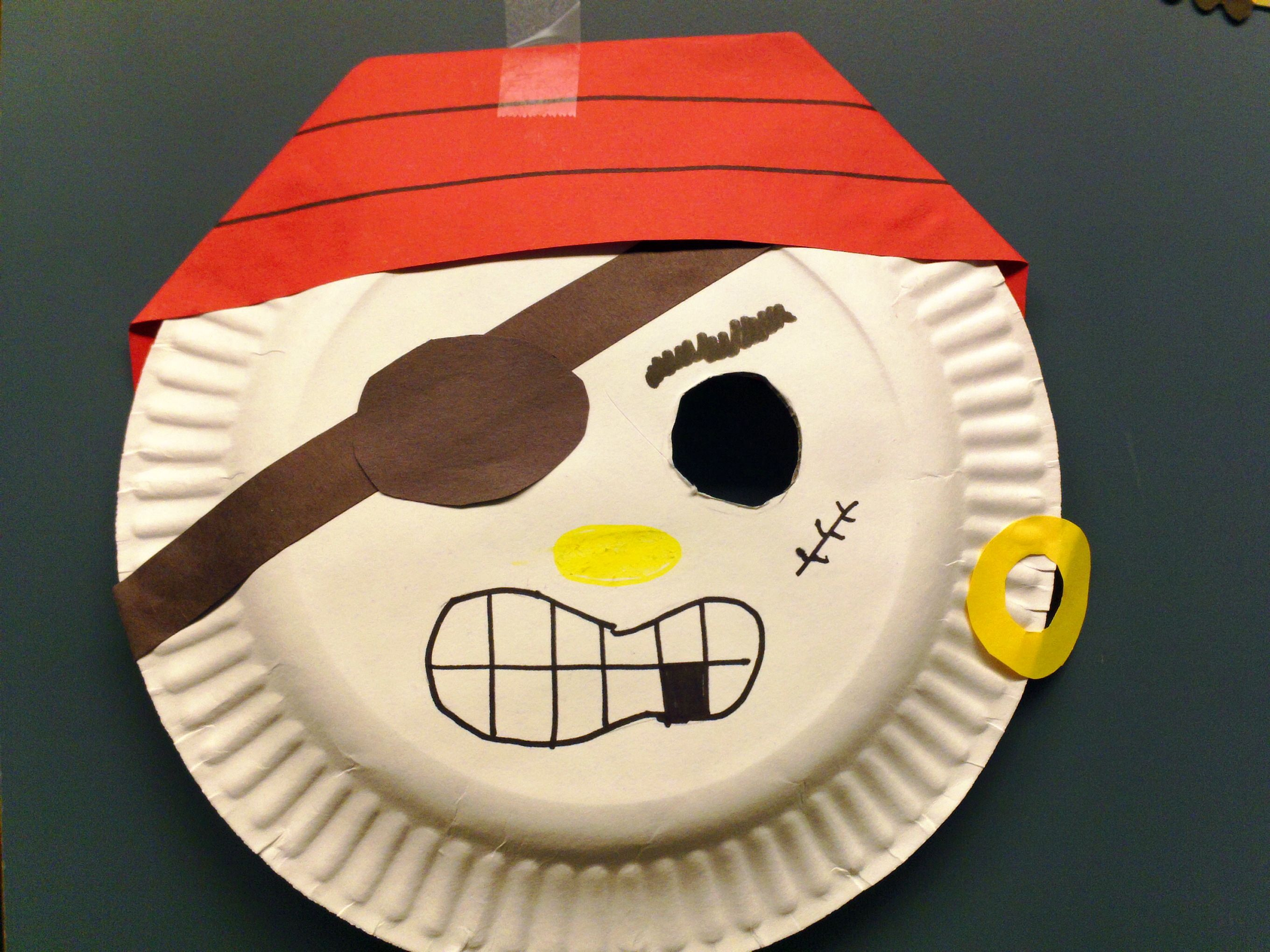 Pirate mask. Ages 5+. Precut an eyehole out of the paper plate. & Pirate mask. Ages 5+. Precut an eyehole out of the paper plate ...