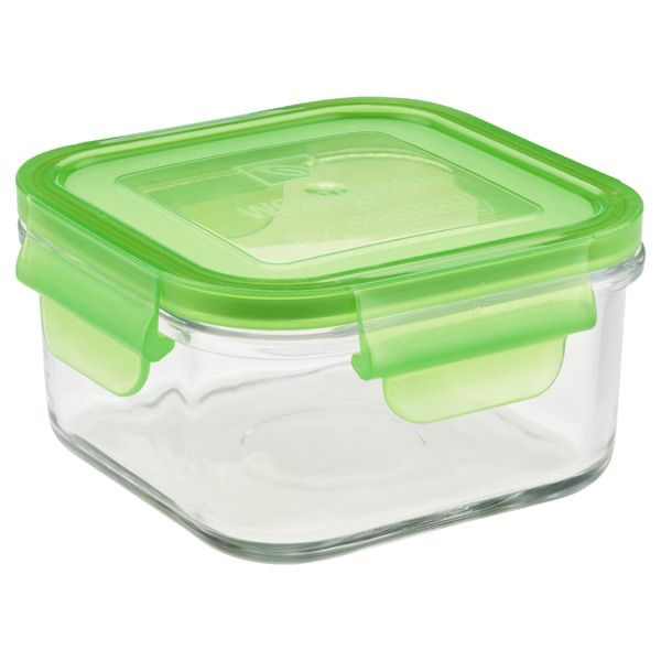 Glass Containers With Lids For Food Storage Prepossessing 165 Ozglass Container Square Green Lid  Cleaning And Organizing Design Decoration