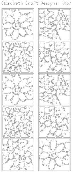 Elizabeth Craft Daisies In Frame 2 Black N0157 Peel Off Stickers Outline Elizabeth Craft