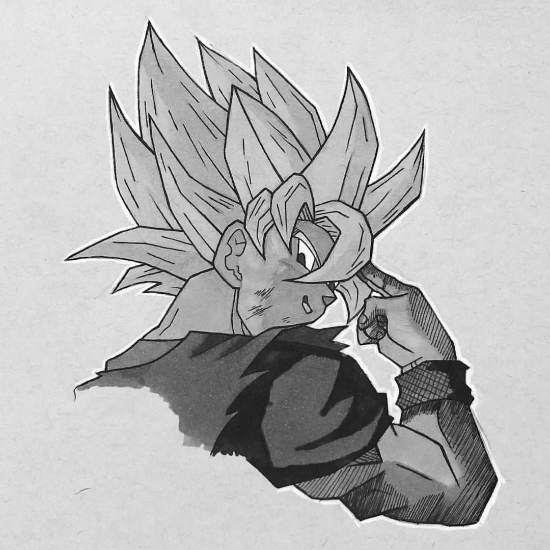 Inktober drawing of goku when he instant transmissions cell