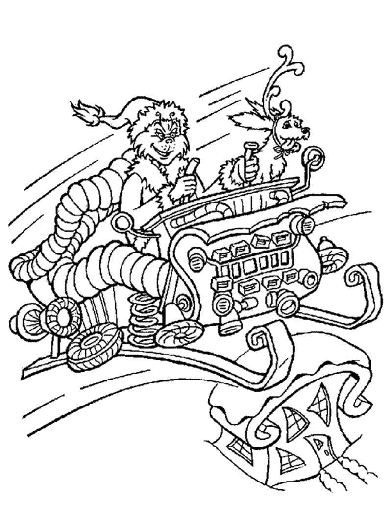 Grinch In Sleigh Coloring Page Grinch Coloring Pages Dr Seuss Coloring Pages Holiday Coloring Book