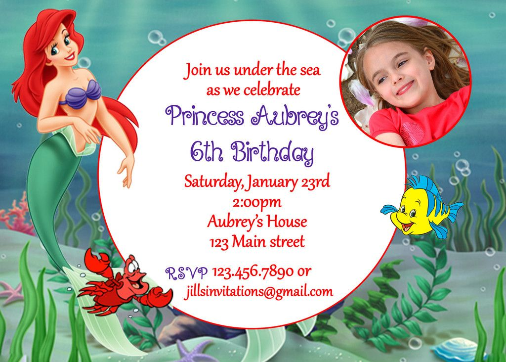 The Little mermaid birthday invitation | Mermaid birthday, Prince ...