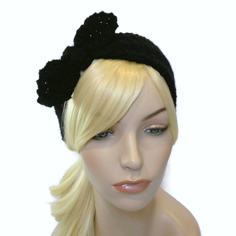 Black Headband Tie Knot Headband Crochet Headband