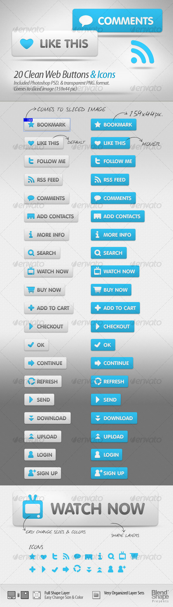 20 Clean Web Buttons & Icons