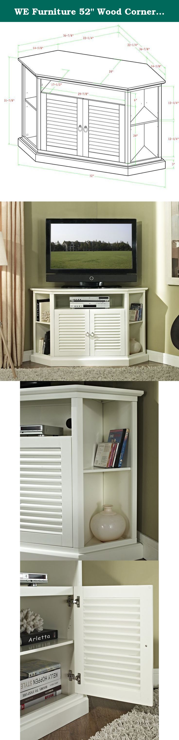 We Furniture 52 Wood Corner Tv Stand Console White Elegance And