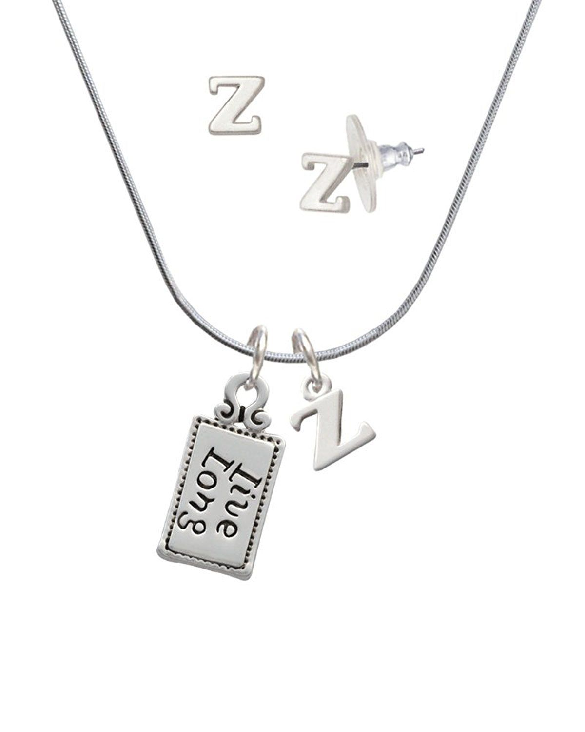 cf6afbfd4ea4 Silvertone Live Long - Z Initial Charm Necklace and Stud Earrings Jewelry  Set