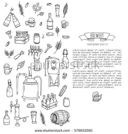 Hand drawn doodle set of Brewery icons. Vector
