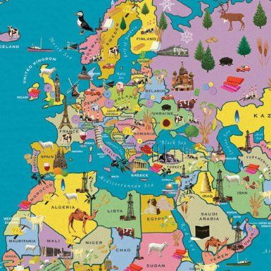 Amazon Com Children S World Map Great Map With Features Geografia Figurinhas