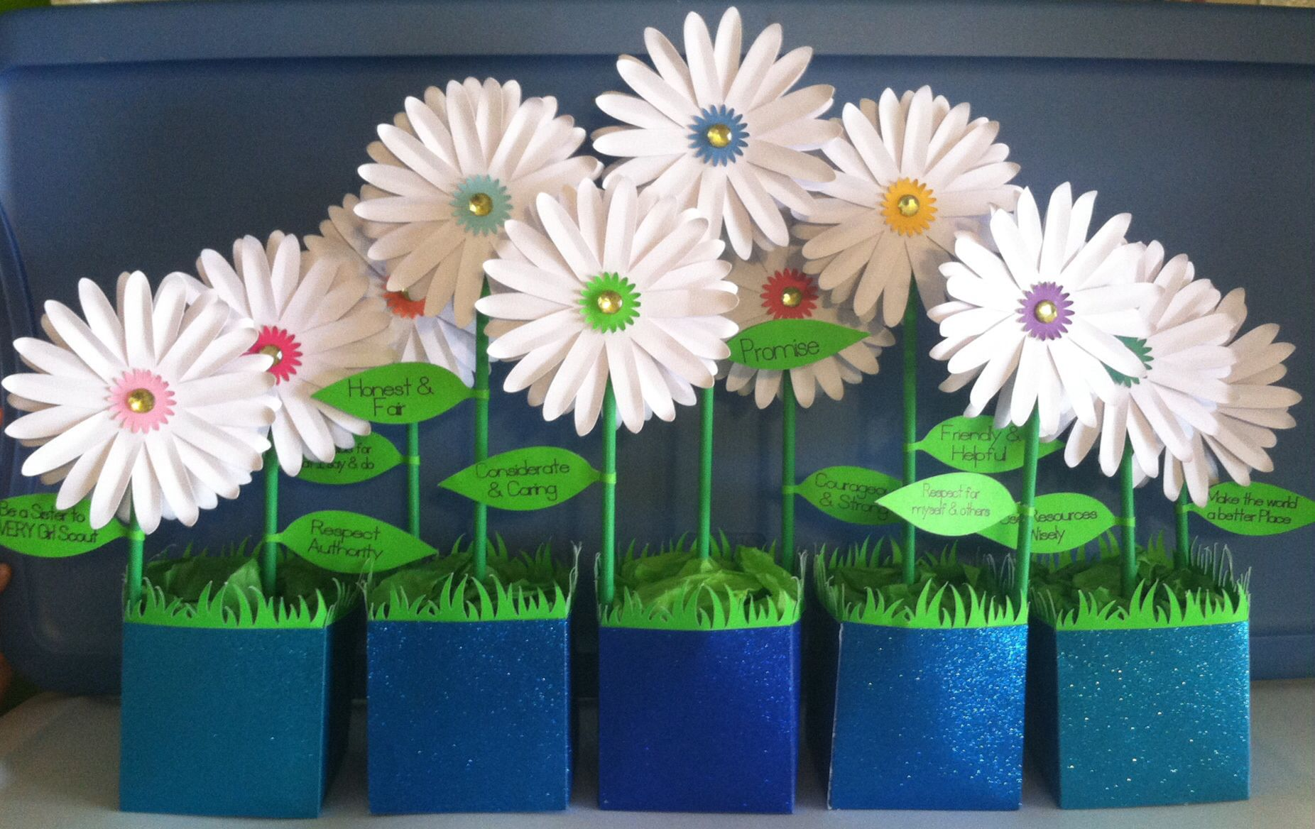 Girl scouts daisy flower centerpieces topsimages girl scout daisy table centerpiece i made for their first meeting jpg 1852x1168 girl scouts daisy izmirmasajfo